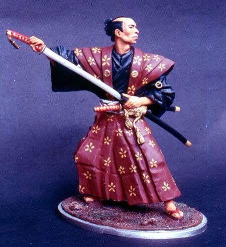 120mm white metal figure japanese samurai, by ademodelart