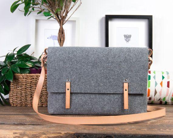 Macbook 15 Case messenger bag genuine leather straps bag by POPEQ