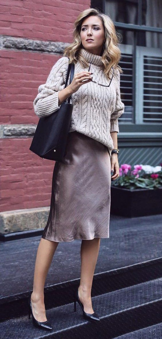 #pretty #winter #outfits /  Beige Turtleneck // Black Tote Bag // Purple Long Skirt // Black Pumps