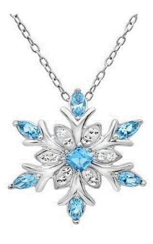 """Amanda Rose Collection Sterling Silver Snowflake Pendant - Necklace with Blue and White Swarovski Crystals  $29.99 Reminds me of """"Frozen""""."""
