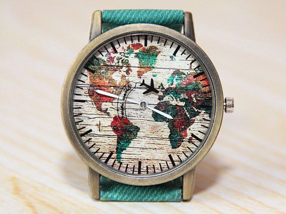 Wristwatch World Map Mens Watch Women s Watch Green World Watch