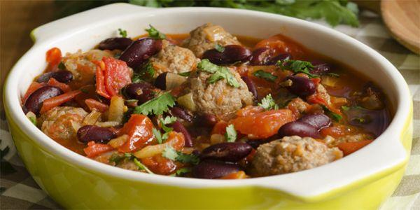 Тушеное мясо с фасолью и овощами!