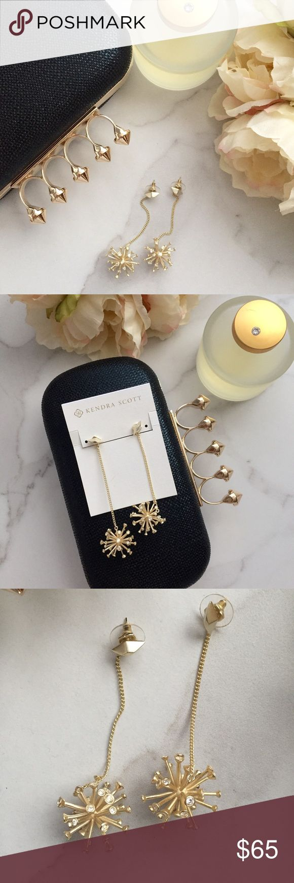🆕 Kendra Scott Tricia drop earrings Beautiful statement drop earrings by Kendra Scott have a slender gold cable chain with a starburst bauble accented with sparkling crystals. Brand new and never worn. Will come with dust bag. Last picture for modeling purposes only (GOLD earrings is item for sale). Kendra Scott Jewelry Earrings