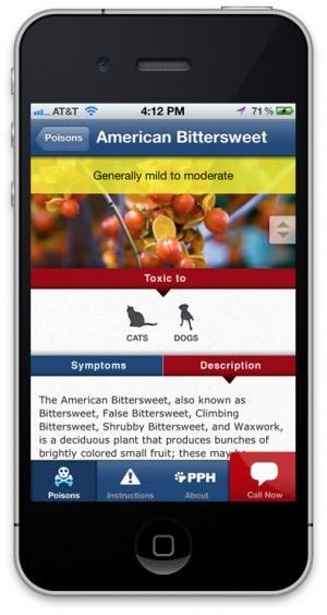 Pet Poison Helpline has an iPhone app.  You can check it out at http://www.petpoisonhelpline.com