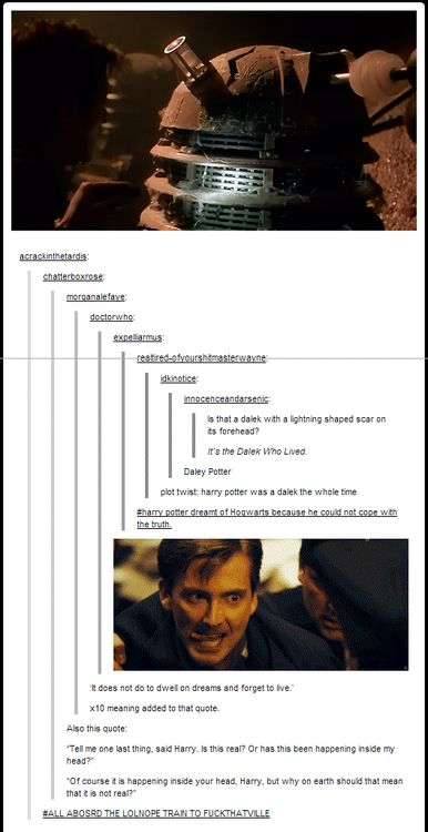 "This is why Barty Crouch Jr looks like the Doctor and is ""evil""...so does that make Death Eaters Time Lords? - Headcannon accepted."