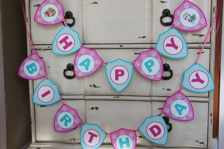 Skye & Everest Themed - Happy Birthday Banner - Customizeable - Paw Patrol - Girls Birthday -Pink, Blue or Purple by AddSomeCharmBoutique on Etsy