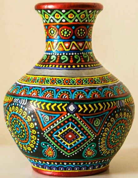 73 best pot painting images on pinterest bottle art for Big pot painting designs