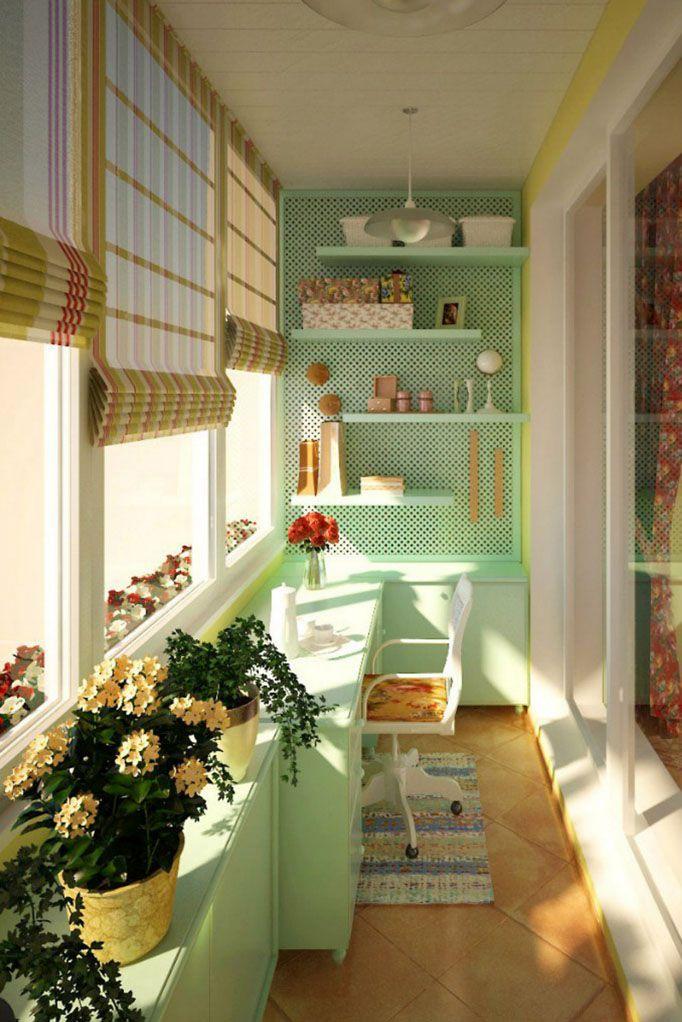 Превращаем балкон в рабочий кабинет #blinds #rollershades #window #blinds #interior #балкон #шторы #жалюзи #рулонныешторы #декорокна