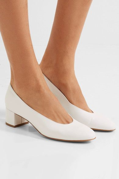 Heel measures approximately 40mm/ 1.5 inches White leather Slip on Made in Italy