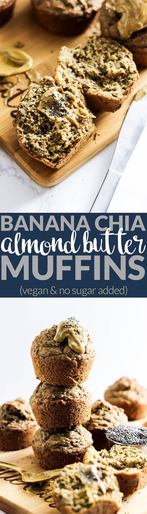 Enjoy these fluffy Banana Chia Almond Butter Muffins as a healthy breakfast or snack on-the-go! They're naturally sweetened, vegan & oil-free - made with @OneDegree! #ad