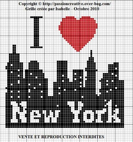 Grille gratuite point de croix : I love New York