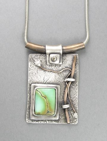 Hadar Jacobson  |  Necklace: Fine silver (PMC), copper, turquoise, sterling silver.