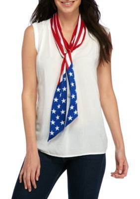Collection Xiix Women's Americana Skinny Scarf - Red/White - One Size