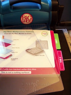 Big Shot Sandwich Recipes using the Multipurpose Platform by Joji Vaughn  (082508)  A related entry (021809) has a printable chart  http://indigoinklings.blogspot.com/2009/02/chart-for-assorted-dies-sizzix.html  Jay provides info not only for use w/Sizzix products but for several other manufacturers as well.