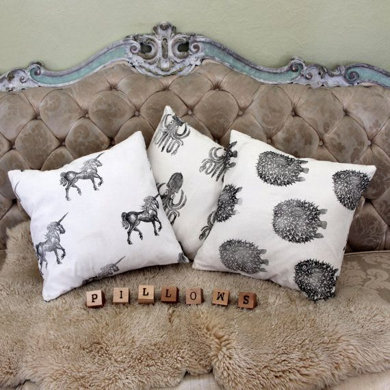 Printed Pillow Case - Hand printed with hand carved stamps - Throw pillow nursery decor baby gift - Unicorn Squid Pufferfish and more