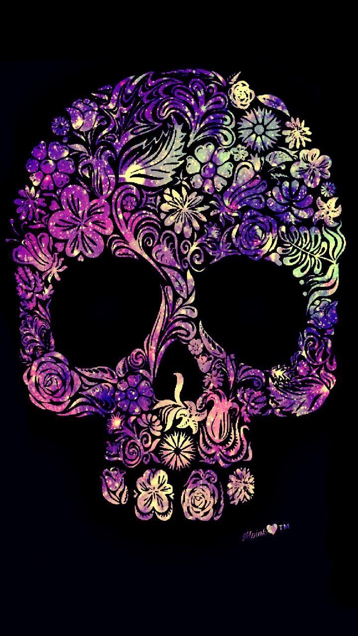 Floral Skullgalaxy Wallpaper Androidwallpaper Iphonewallpaper
