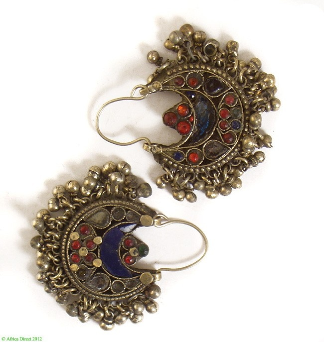Kutchi gypsy crescent earrings glass inlays, Afghanistan