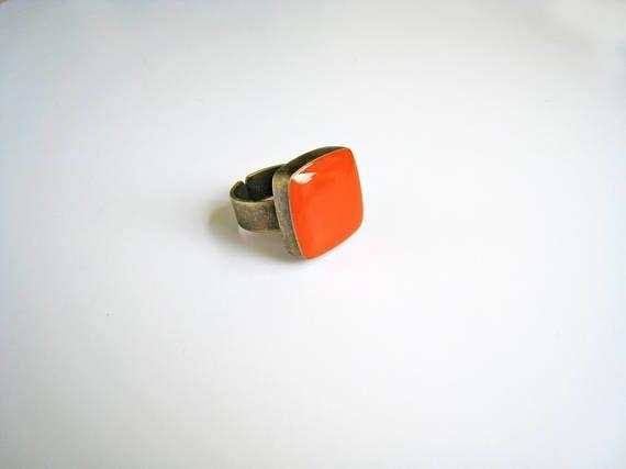Orange ring bronze tangerine orange statement ring sanguine