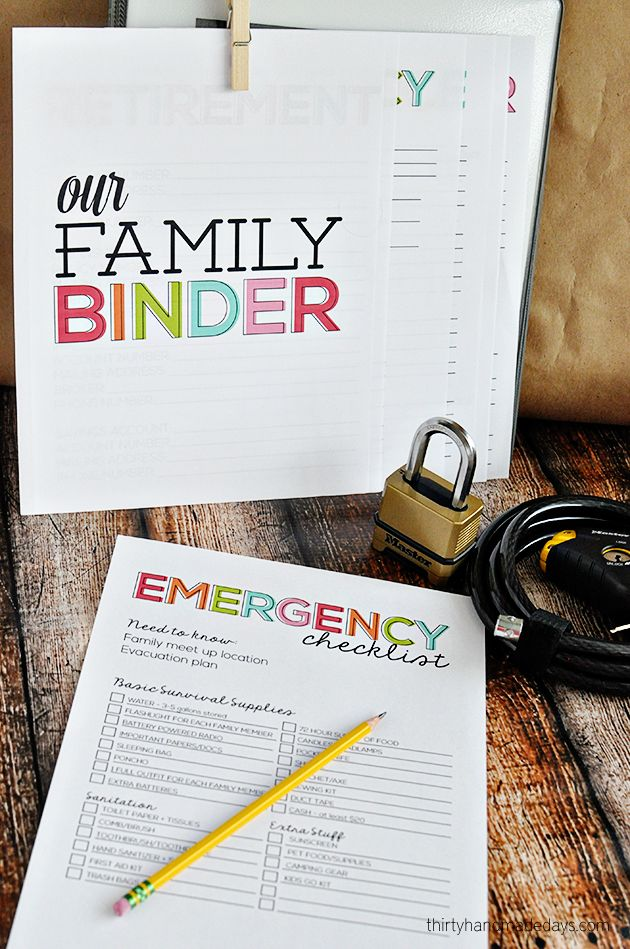 Get prepared in case of an emergency - Printable Emergency Checklist www.thirtyhandmadedays.com
