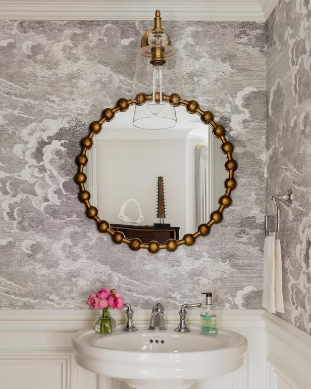 Chic, Transitional Powder Room | HGTV >> http://www.hgtv.com/design-blog/design/meet-hgtv-faces-of-design-editors--pick-winners?soc=pinterest