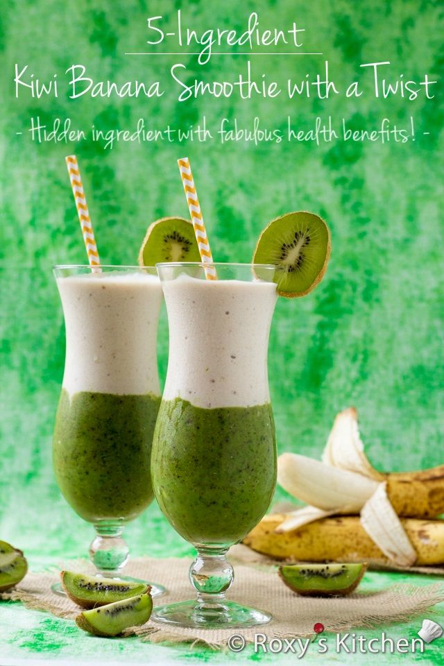 Kiwi Banana Smoothie with a Twist - This layered smoothie is perfect for a hot summer day... super refreshing, healthy, delicious and looks ...