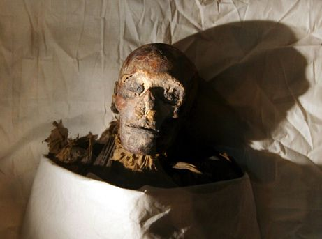 The mummy of the pharaoh queen Hatshepsut sits on display at Cairo's Egyptian Museum.  The remains were recently identified as those of Hatshepsut using forensic and DNA testing, scientists announced today.