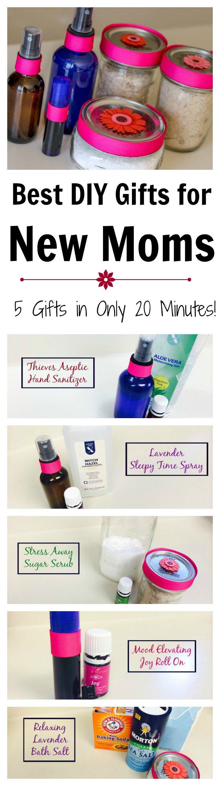 Awesome DIY Gifts that any new mom will absolutely love! Best part is you can make all 5 gifts in under 20 minutes!