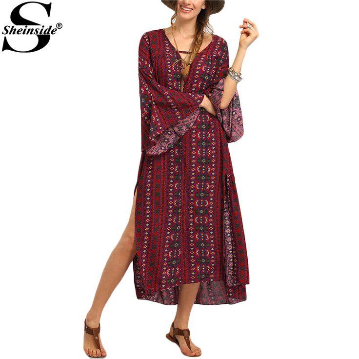 Sheinside Ladies Red Vintage Tribal Printed Slit Maxi Dresses Summer Beach 2016 Women Boho Long Sleeve V Neck Straight Dress