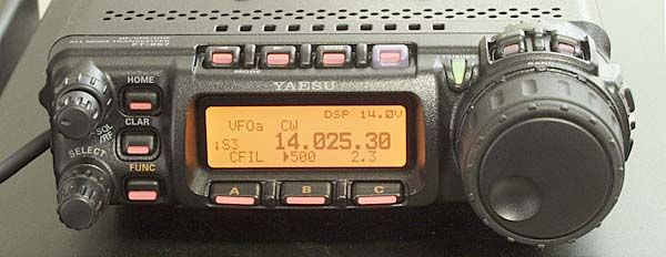The Yaesu FT857D, just about the best little all-band transceiver around.