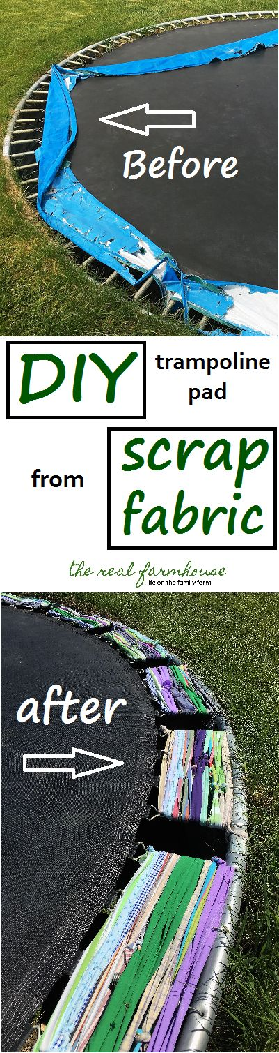 DIY trampoline pad out of scrap fabric. Super cute and soft on the kids feet