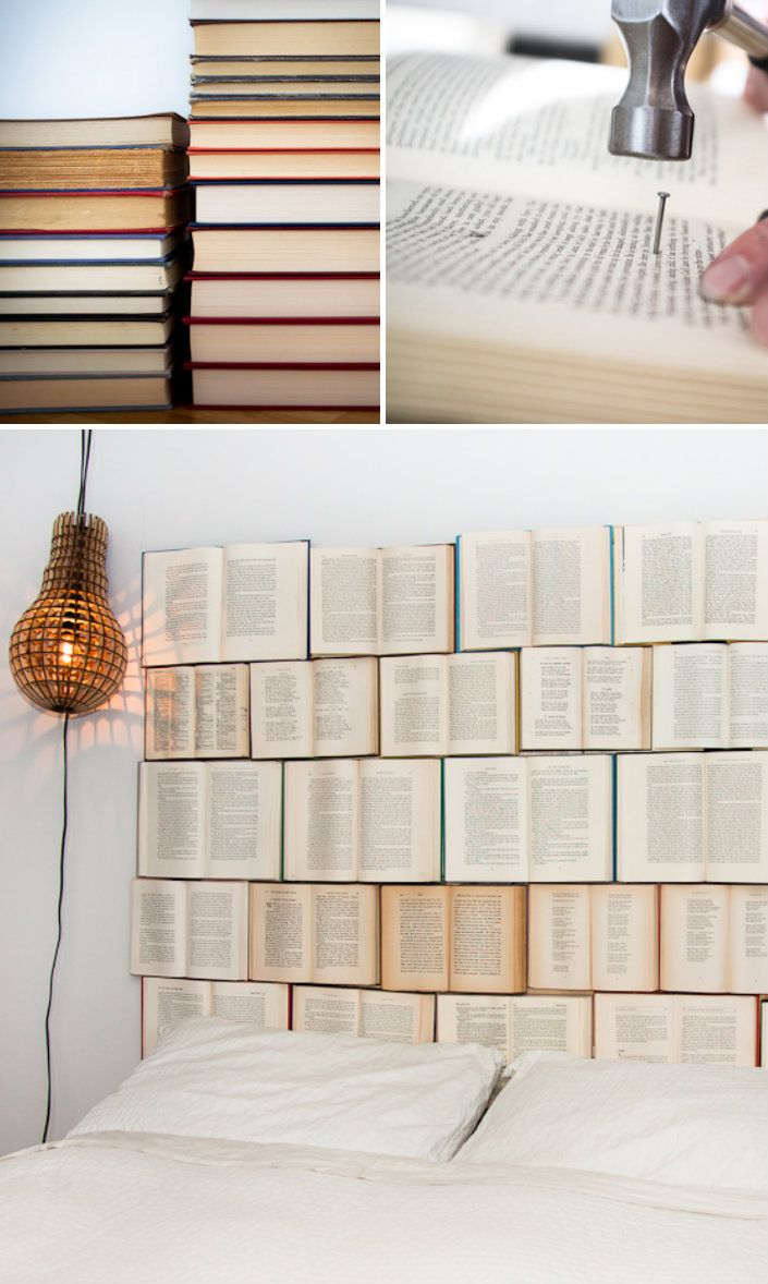 Book Headboard, I would love to do this but I don't think I have the heart to ruin a perfectly good book!!