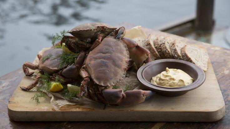 Krabbe kokt i øl, med majones med brunt smør