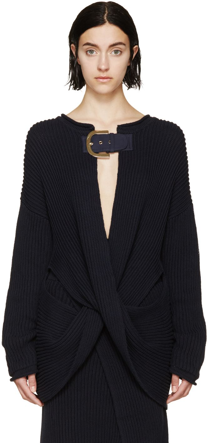 Stella McCartney Navy Knit Buckled Cardigan