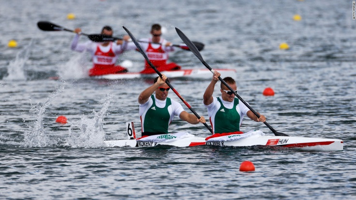 8/6/12 - Roland Kokeny, left, and Rudolf Dombi of Hungary compete in the men's kayak double (K2) 1,000 -meter sprint heats at Eton Dorney.