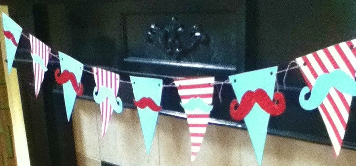 HANDMADE moustache pennant banner FATHER'S DAY little man First Birthday