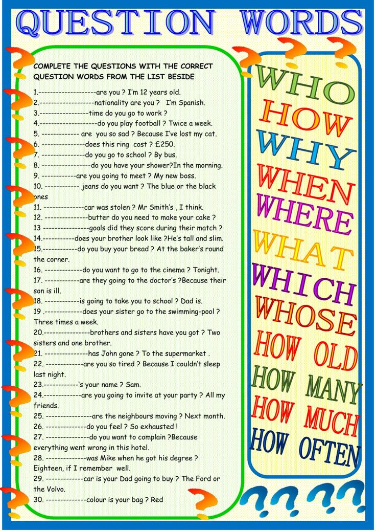 Question words interactive and downloadable worksheet. Check your answers online or send them to your teacher.