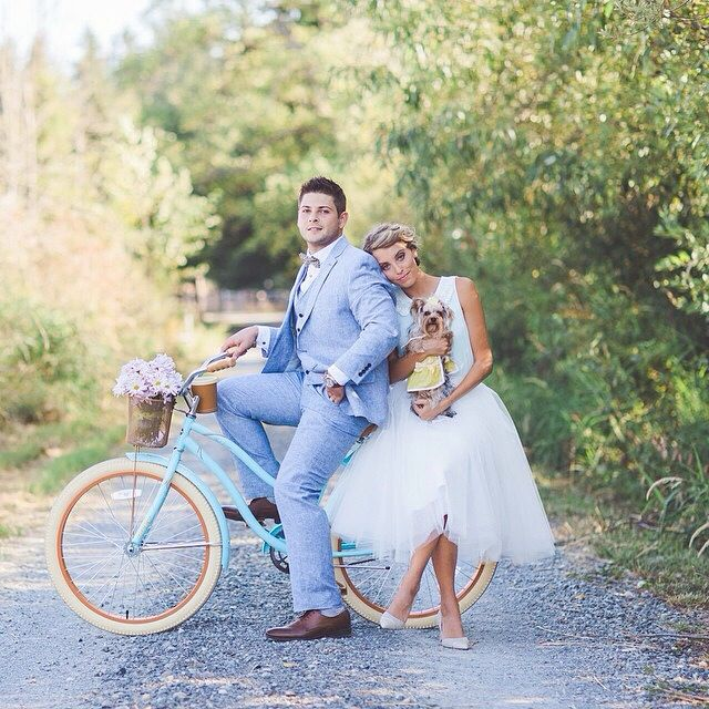 Ivory tulle skirt, baby blue bicycle, romantic moment, couple photoshoot, so debonair, riding with puppy