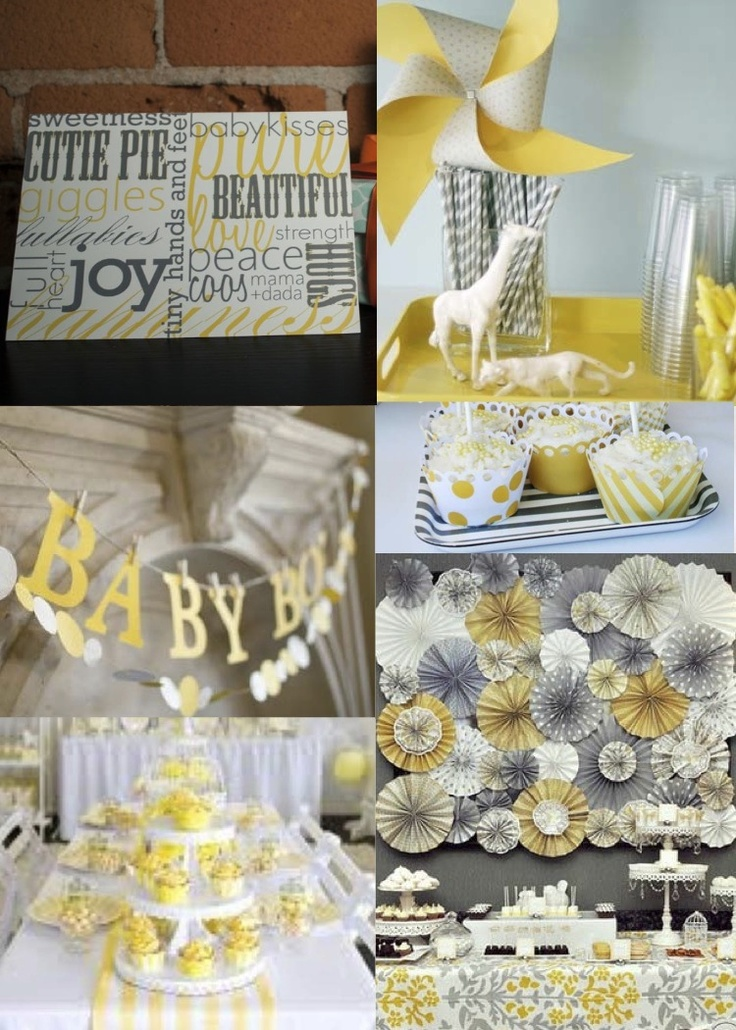Yellow & Gray Baby Shower Invitation by Blue Envelope Boutique