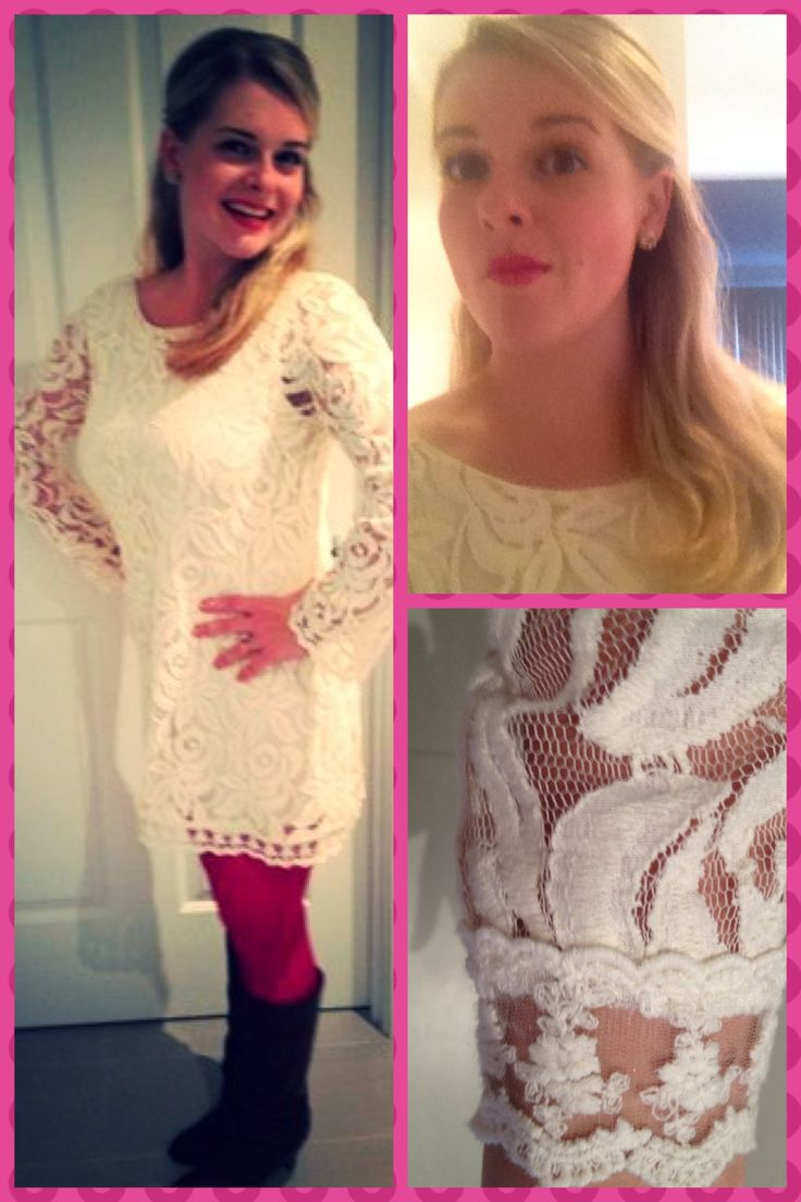 Day 4 bonus: 1960s white lace for date night. Dress from Nordstroms, boots from consignment shop, tights from Forever New. Lipstick is Clinique.