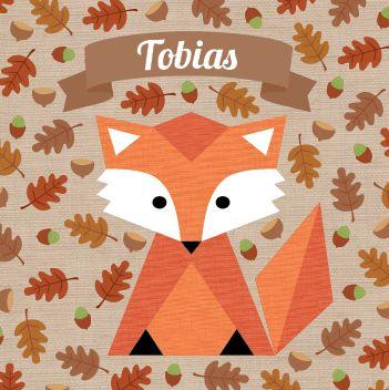 Geboortekaartje Tobias Vincent Tom: www.hetuilennestje.nl. illustratief/ illustratie, herfst, blaadjes, eikels, natuur, seizoen, najaar, vos, vosje, dieren, bruin, oranje, jongen.