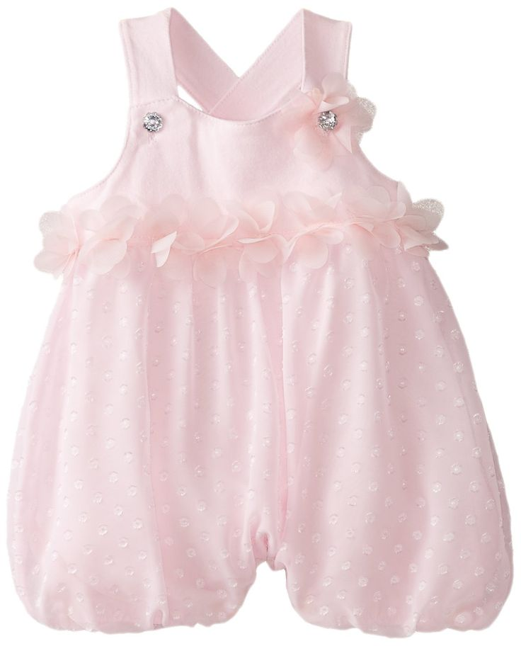 Nannette Baby-Girls Newborn Romper with Rosette Tacked By Shoulder Strap,Pink,0-3 Months