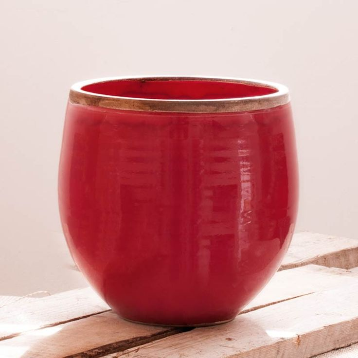 """RED CERAMIC VASE """"CATERINA"""" 100% MADE IN ITALY """"CATERINA"""" vase glazed with antiqued edges. Ideals for home and garden. 100% MADE IN ITALY AND HAND MADE! www.stileitalia.biz"""