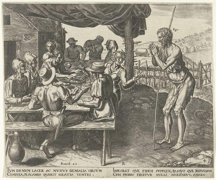 Philips Galle   De luiaard mag niet mee eten na de oogst, Philips Galle, Hadrianus Junius, c. 1565   Mannen en vrouwen zitten naast hun huis in de buitenlucht te eten na de oogst. De luiaard, die niet heeft geholpen bij het oogsten, wordt van tafel geweerd. Hij maakt met zijn handen een biddend gebaar, maar wordt weggestuurd.
