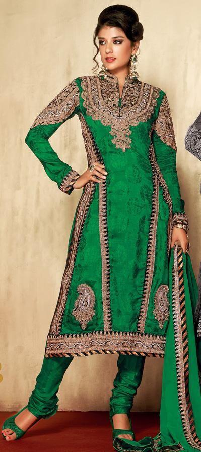 $89.93 Green Embroidered Silk Anarkali Salwar Suit 26308