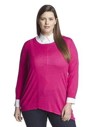 67% OFF Cotton Addiction Plus Women's Angled Hem Sweater (Fuchsia)