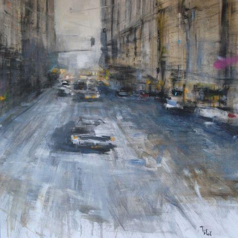 """Senso unico"" - Olio su tela - cm.90x90 - città, automobile, veduta urbana"