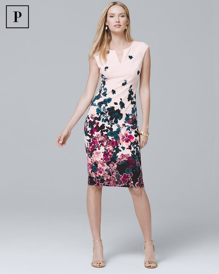 Women's Petite Sleeveless Floral Printed Sheath Dress by White House Black Market
