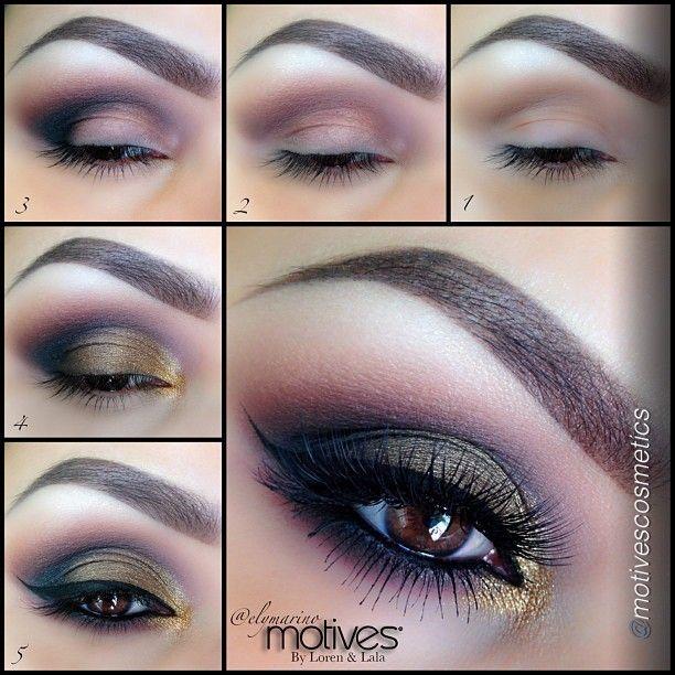 purple gold night makeup tutorial