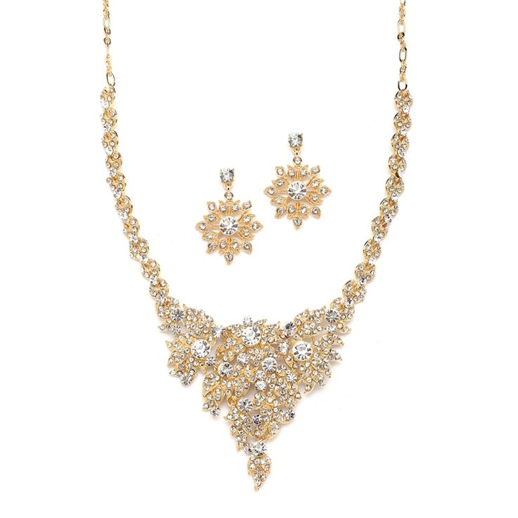 Wedding Necklace Set Crystals Art Deco Golden Bridal And Earrings Will Light Up Any