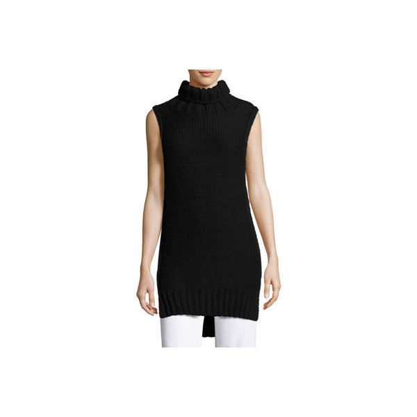 Calvin Klein Collection Dominic Turtleneck Sleeveless Sweater ($423) ❤ liked on Polyvore featuring tops, sweaters, black, sleeveless tops, turtle neck sweater, sleeveless turtleneck top, sweater pullover and side slit sweater